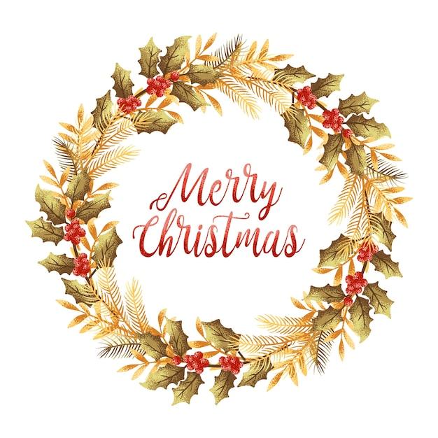 Christmas Wreath Card Vector Premium Download