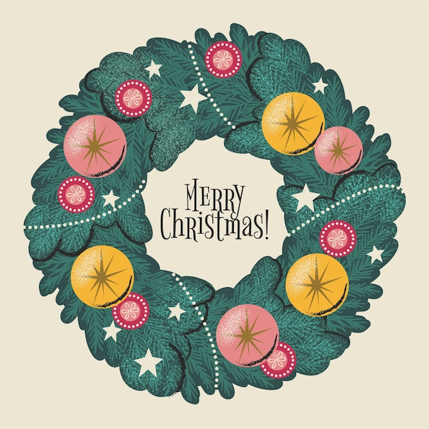 Christmas wreath concept with vintage design Free Vector