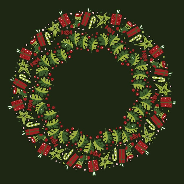 Christmas wreath design vector. Premium Vector