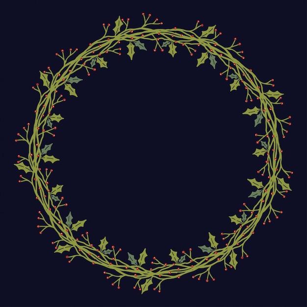 Christmas wreath design vector. Premium Vector