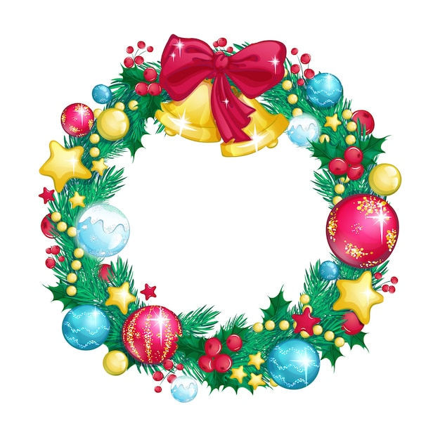 Christmas wreath of fir branches decorated with glass shiny balls and christmas bells. Premium Vector