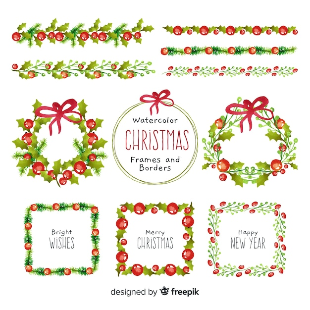 Christmas wreath and frames watercolor collection Free Vector