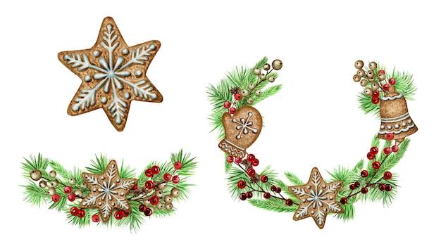 クリスマスリースジンジャーブレッドクッキーグリーティングカードのポスター、バナーのコンセプト。白い背景の上の松の枝の円錐形の丸いフレーム、テキストのコピースペースと新年の水彩手描きイラスト Premiumベクター