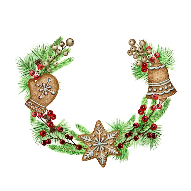Рождественский венок пряники поздравительная открытка плакат, концепция баннера. Premium векторы