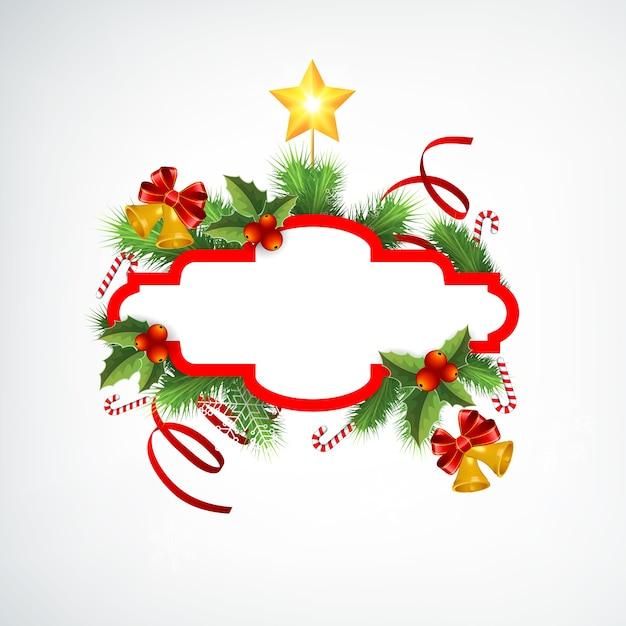 空白のフレームモミの枝リボンキャンディージングルベルと星とクリスマスリース挨拶テンプレート 無料ベクター