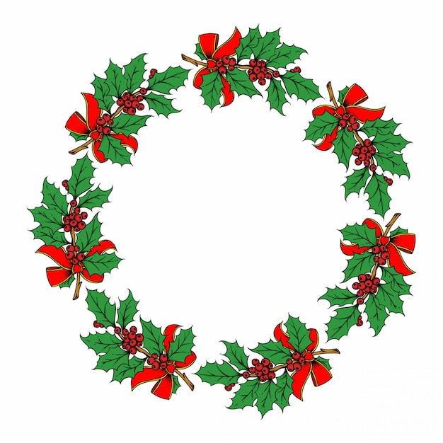 Christmas wreath illustration on white Premium Vector