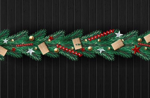 Christmas wreath made of naturalistic looking pine branches decorated. Premium Vector