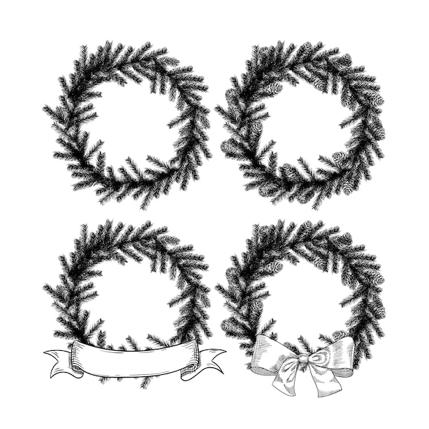 Drawings Of Christmas Wreaths.Christmas Wreath Set In The Style Of A Sketch Of A Christmas