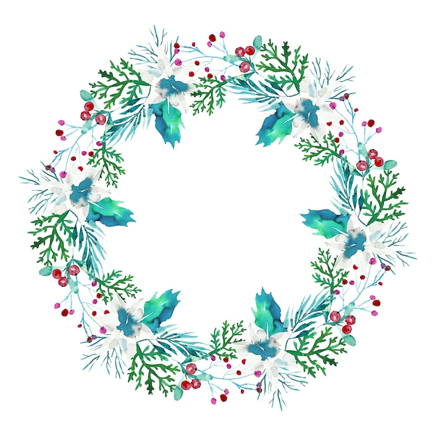 Christmas wreath in watercolor Free Vector