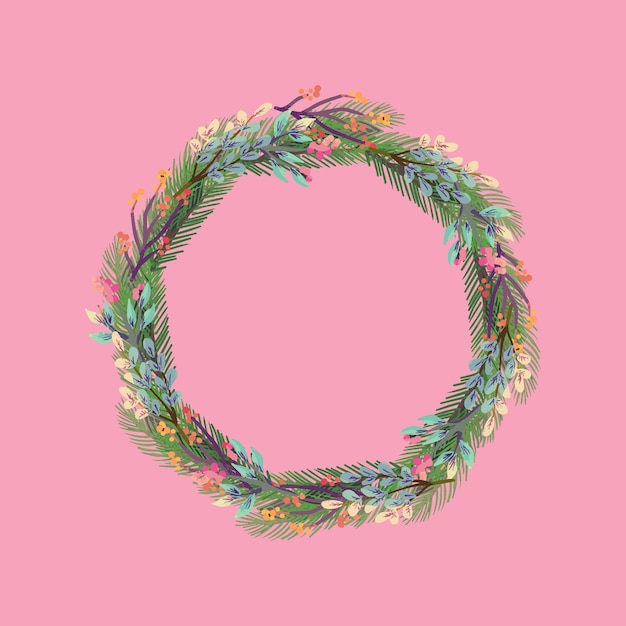 Christmas wreath in watercolor Free Vector