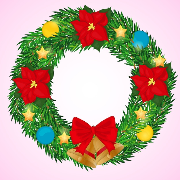 Christmas Wreath With Bells Poinsettia And Balls In Cartoon Style