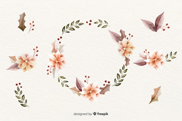 Christmas wreath with black and pink branches and pine cones Free Vector