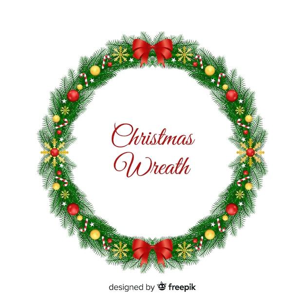 Рождественский венок с конфетами фон Бесплатные векторы