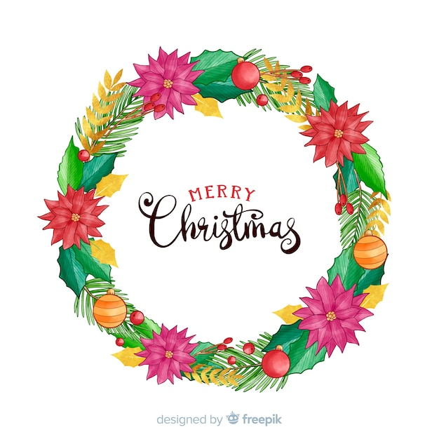 Christmas wreath with flowers and globes Free Vector