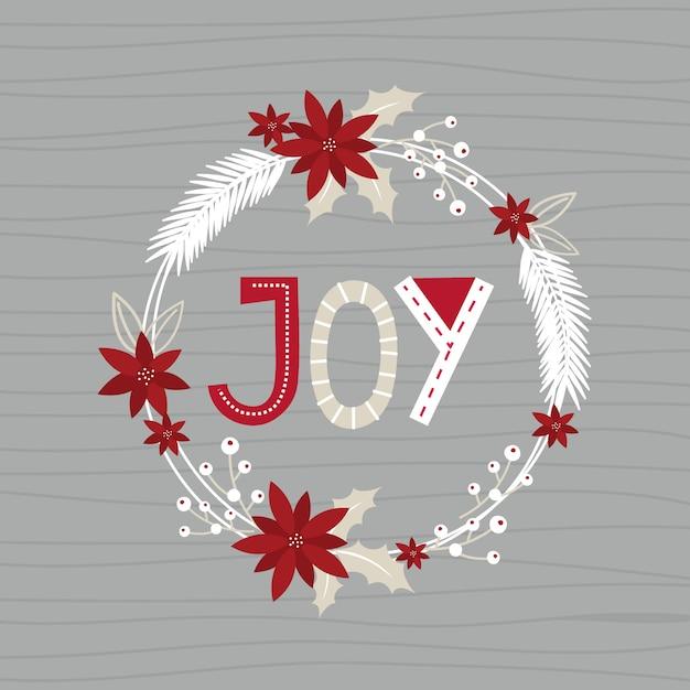 Premium Vector Christmas Wreath With Joy Letter