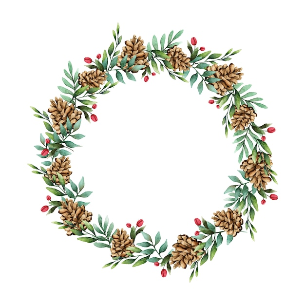 Christmas wreath with pine cones watercolor style vector Free Vector