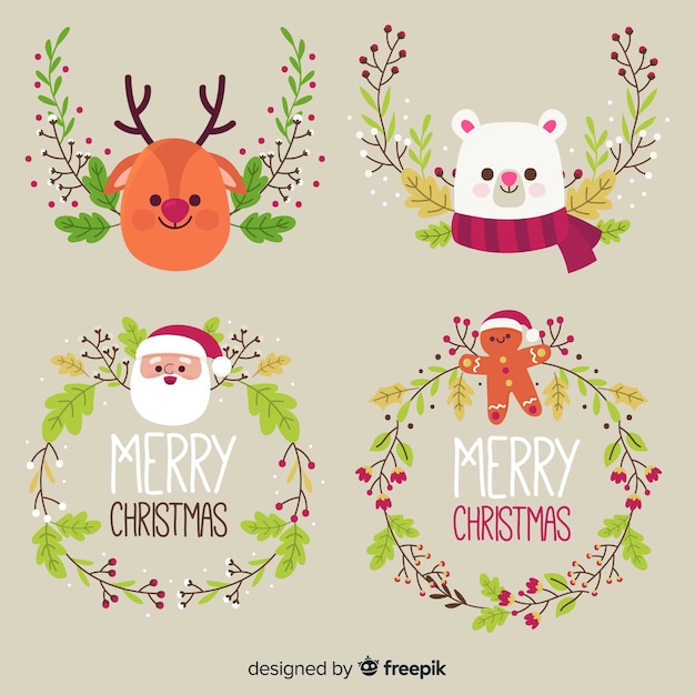 Christmas wreath Free Vector