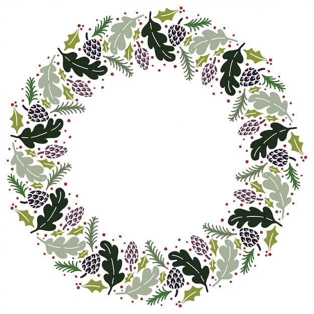 Christmas wreath Premium Vector