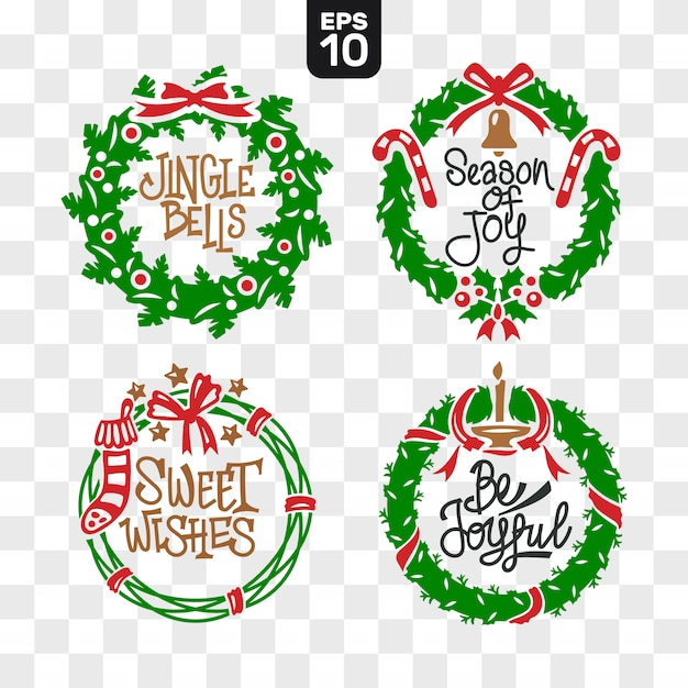 Christmas wreaths cutting file collection set with quote Premium Vector