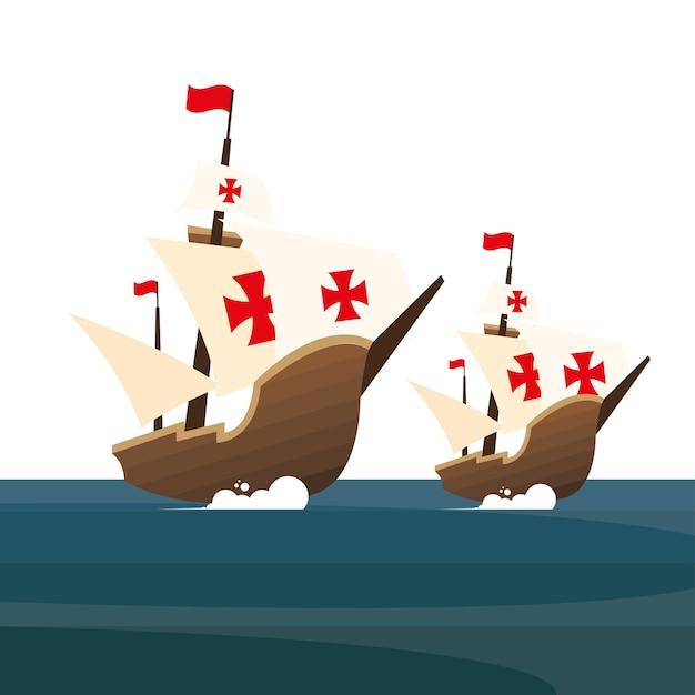 Корабли христофора колумба в американском море и открытия Premium векторы