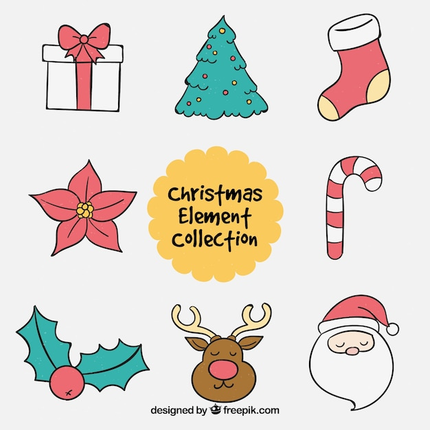 Chritsmas elements with lovely style Free Vector
