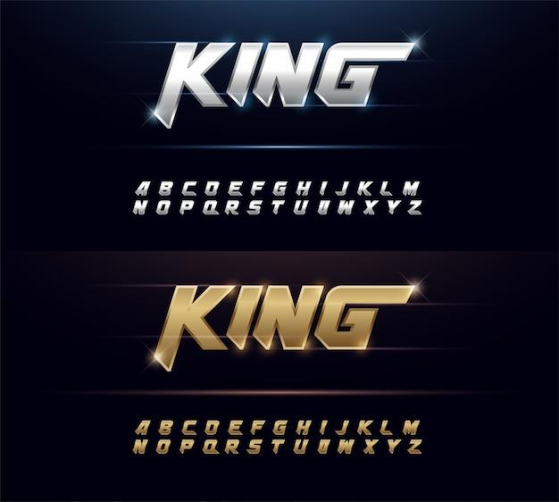 エレガントなシルバーとゴールデンメタルchrome alphabetフォントの Premiumベクター