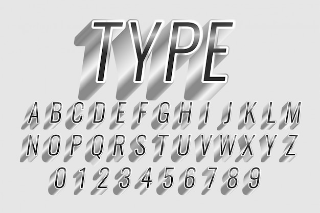 Chrome or silver style text effect Free Vector