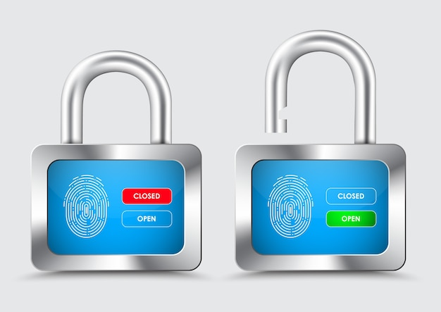 Chromed padlock, with blue display with fingerprint for protection control, and opening and closing buttons Premium Vector