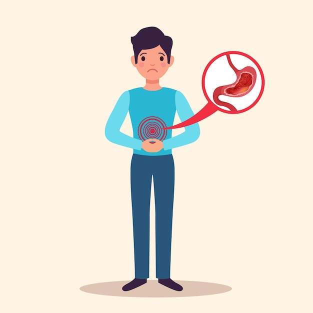 부은 위 안감의 급성 염증이 나타난 만성 위염 젊은 남성 환자 평면 문자 무료 벡터