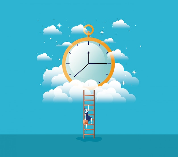 Chronometer timer with businesswoman Premium Vector