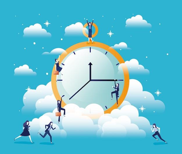 Chronometer timer with businesswomen Premium Vector