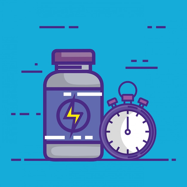 Chronometer with bottle drugs Free Vector