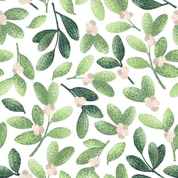 Chrstmas Mistletoe Pattern Premium Vector