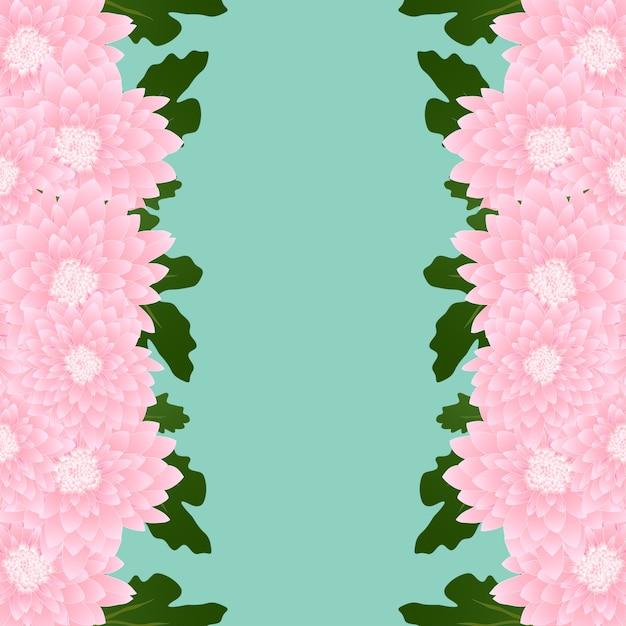 Chrysanthemum flower border Premium Vector
