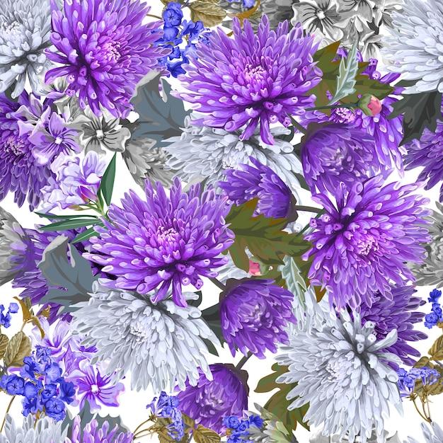 Chrysanthemum flower vector seamless pattern Premium Vector