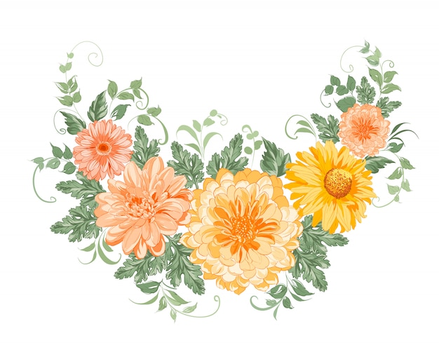 Chrysanthemum garland. Premium Vector