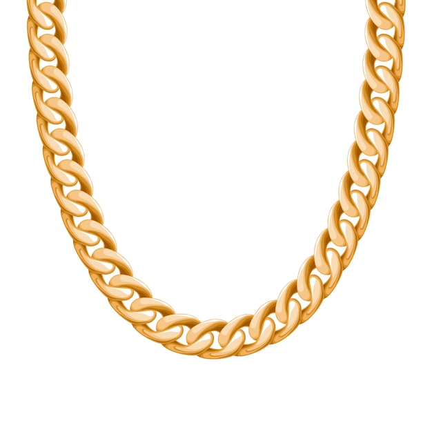 Chunky chain golden metallic necklace or bracelet. personal fashion accessory .  brush included. Premium Vector