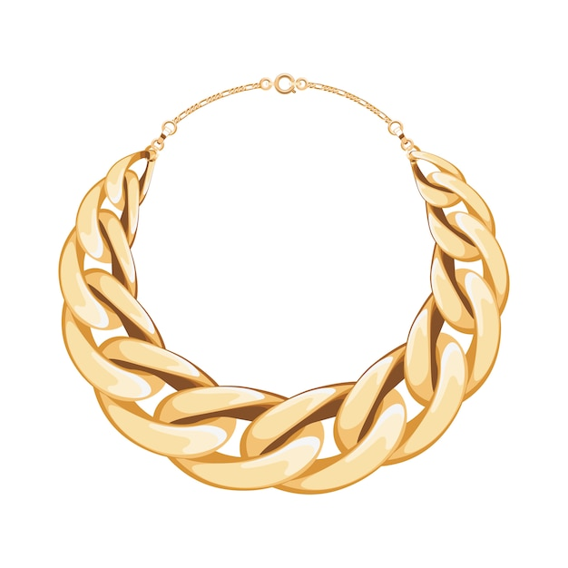 Chunky chain golden metallic necklace or bracelet. personal fashion accessory .  illustration. Premium Vector