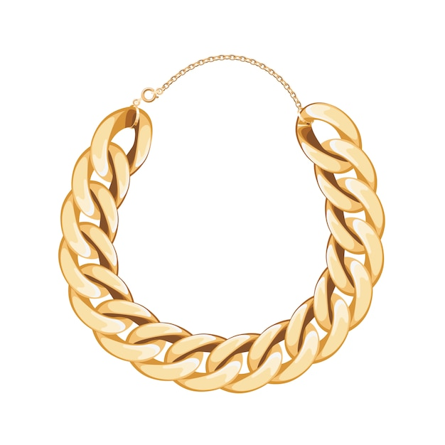 Chunky chain golden metallic necklace or bracelet. personal fashion accessory . Premium Vector