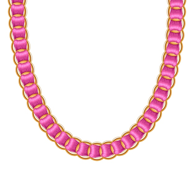 Chunky chain golden metallic necklace or bracelet with pink ribbon. personal fashion accessory . Premium Vector