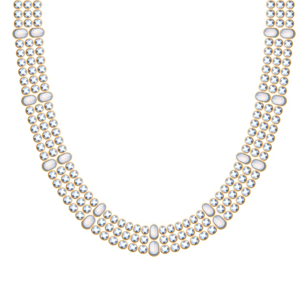 Chunky chain with pearls gemstones necklace or bracelet. personal fashion accessory  ethnic indian style. Premium Vector