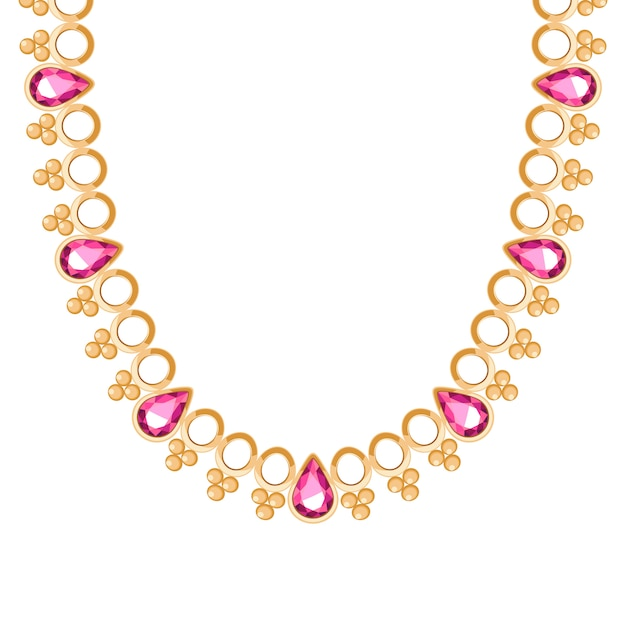 Chunky golden chain with rubies gemstones necklace or bracelet. personal fashion accessory  ethnic indian style. Premium Vector