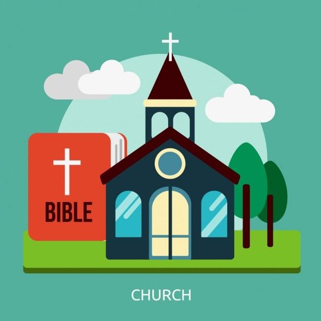 Disegno chiesa di fondo Vettore gratuito