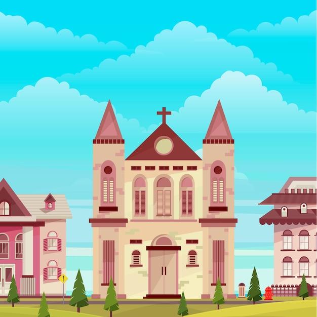 Church building landscape illustration Premium Vector