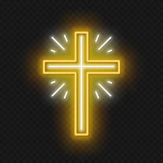 教会はネオンサインを渡る。はりつけの熱烈なシンボル。 Premiumベクター