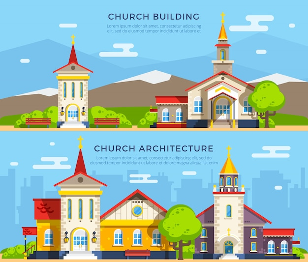 Church flat banners Free Vector