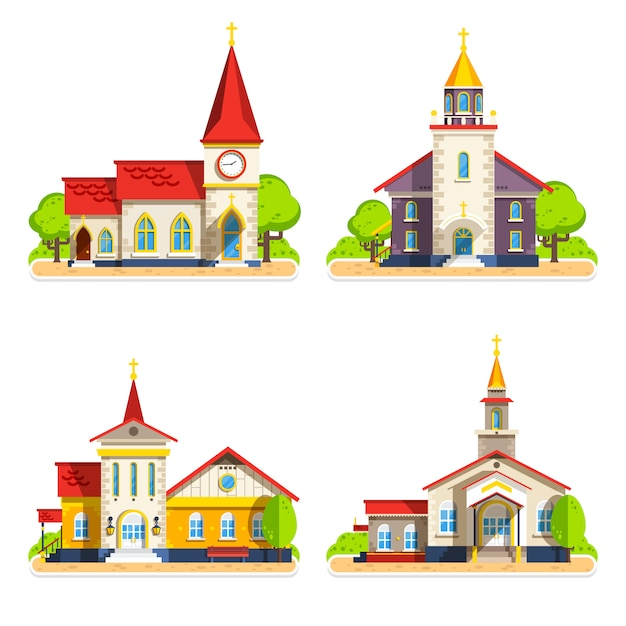 Church flat icons set Free Vector