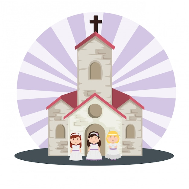 Church and girls with dress to first communion Free Vector
