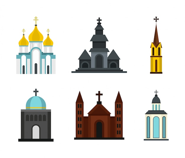Church icon set. flat set of church vector icons collection isolated Premium Vector