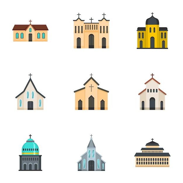 Church icons set, cartoon style Premium Vector